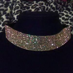 Jewelry - Aurora Borealis Rhinestone Extra Wide Choker
